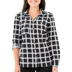 NY Collection Womens Plaid Roll-Tab Sleeve Blouse