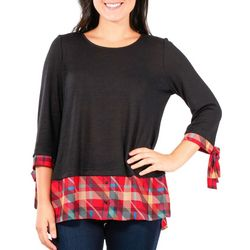 NY Collection Womens Plaid Faux Layered Top