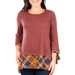 NY Collection Womens Plaid Faux Layered 3/4 Sleeve