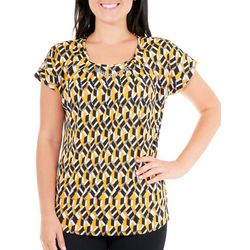 NY Collection Womens Printed Metal Trim Dolman Top