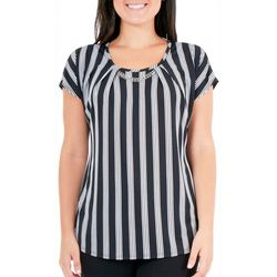 NY Collection Womens Printed Metal Trim Top
