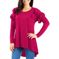 NY Collection Womens Ruffle Sleeve High Low Top