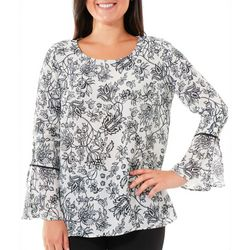 NY Collection Womens Floral Bell Sleeve Top