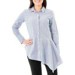 NY Collection Womens Stripe Asymmetric Shirt