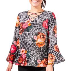 NY Collection Womens Printed Bell Sleeve Top