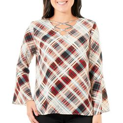 NY Collection Womens Plaid Bell Sleeve Top