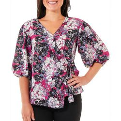 NY Collection Womens FLoral Ruffle Sleeve Top