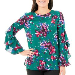 NY Collection Womens Green Ruffle Sleeve Top