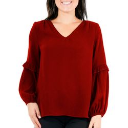 NY Collection Womens Rufle Sleev V Neck Top