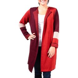 NY Collection Womens Color Block Duster Cardigan