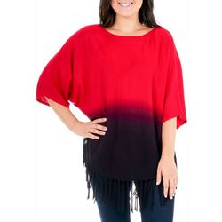 NY Collection Womens Dip Dyed Fringe Sweater