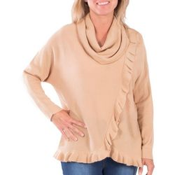 NY Collection Womens Faux Wrap Ruffle Sweater