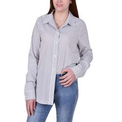 NY Collection Womens Striped Tie Front Blouse