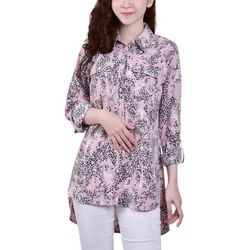 NY Collection Womens Hi Low Hem Roll Tab Blouse