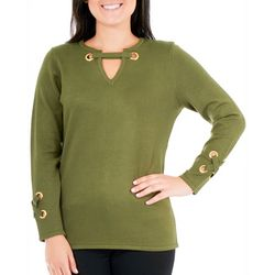 NY Collection Womens Lace-Up Grommet Sweater