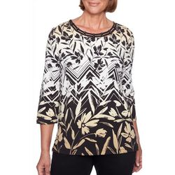 Alfred Dunner Womens Travel Light Floral Chevron Top