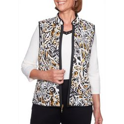 Alfred Dunner Womens Travel Light Reversible Zip Vest