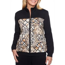 Alfred Dunner Womens Lakeshore Drive Animal Bomber Jacket