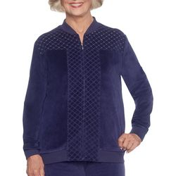 Alfred Dunner Womens Family Jewels Embellished Zip Jacket