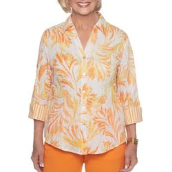 Alfred Dunner Womens Still My Sunshine Tropical Print Top