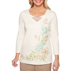 Alfred Dunner Womens Santa Fe Floral Top