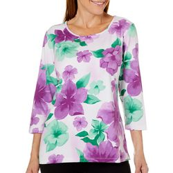 Alfred Dunner Womens Classics Blooming Floral Print Top