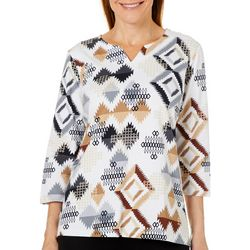 Alfred Dunner Womens Classics Abstract Geo Print Top