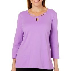 Alfred Dunner Womens Embellished Caged Keyhole Top