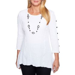 Alfred Dunner Womens Barcelona Necklace & Textured Top