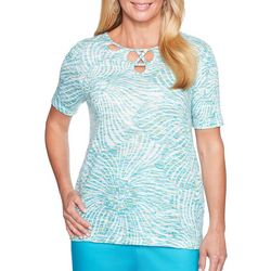 Alfred Dunner Womens Scottsdale Embellished Space Dye Top