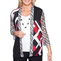 Alfred Dunner Womens Barcelona Abstract Striped Duet Top