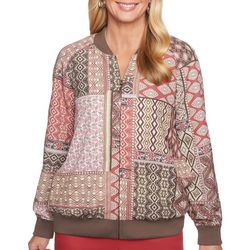 Alfred Dunner Womens Sunset Canyon Geometric Bomber Jacket