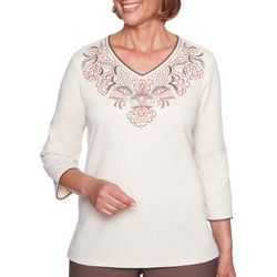 Alfred Dunner Womens Sunset Canyon Floral V-Neck Top