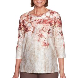 Alfred Dunner Womens Sunset Canyon Floral Braid Neck