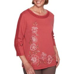 Alfred Dunner Womens Sunset Canyon Floral Embroidered Top