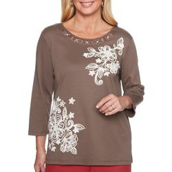 Alfred Dunner Womens Sunset Canyon Embroidered Floral Top