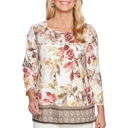Alfred Dunner Womens Sunset Canyon Floral Geo Border Top