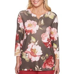 Alfred Dunner Womens Sunset Canyon Embellished Floral Top