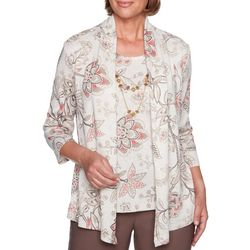 Alfred Dunner Womens Sunset Canyon Floral Print Duet Top