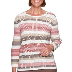 Alfred Dunner Womens Sunset Canyon Striped Biadere Sweater