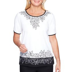 Alfred Dunner Womens Barcelona Embroidered Floral Top
