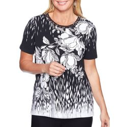 Alfred Dunner Womens Barcelona Floral Caged Neck Top