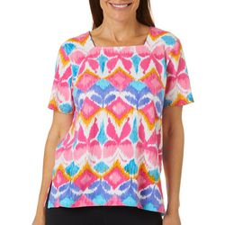 Alfred Dunner Womens Butterfly Print Square Neck Top