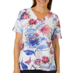 Alfred Dunner Womens Floral Butterfly V-Neck Top