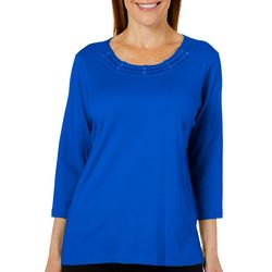 Alfred Dunner Womens Classics Solid Braid Neck Top