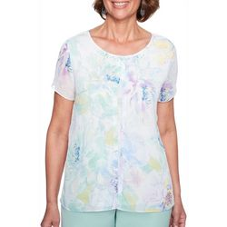 Alfred Dunner Womens Daydreamer Jeweled Floral Chiffon Top