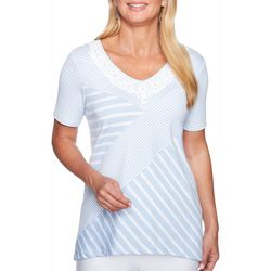 Alfred Dunner Womens Daydreamer Mixed Stripe Lace Neck Top