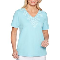 Alfred Dunner Womens Catalina Island Stripe Applique Top