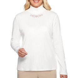 Alfred Dunner Womens Embellished Mock Neck Top