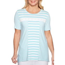 Alfred Dunner Womens Catalina Island Monotone Stripe Top